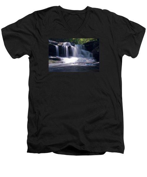 Soft Light Dunloup Falls Men's V-Neck T-Shirt by Shelly Gunderson