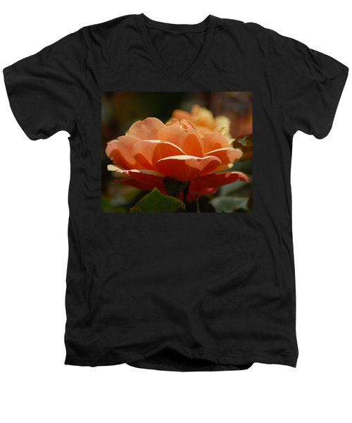 Soft Orange Flower Men's V-Neck T-Shirt by Matt Harang