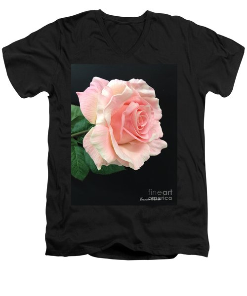 Men's V-Neck T-Shirt featuring the photograph Soft Pink Rose 1 by Jeannie Rhode
