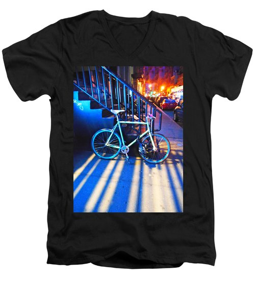 Men's V-Neck T-Shirt featuring the photograph Soho Bicycle  by Joan Reese