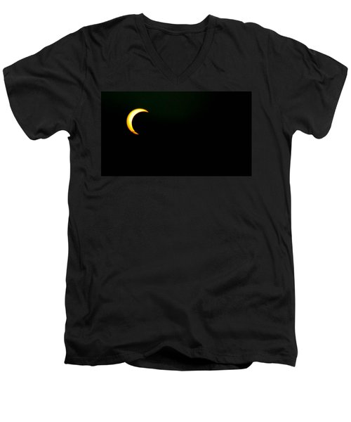 Men's V-Neck T-Shirt featuring the photograph Solar Eclipse 2012 by Angela J Wright