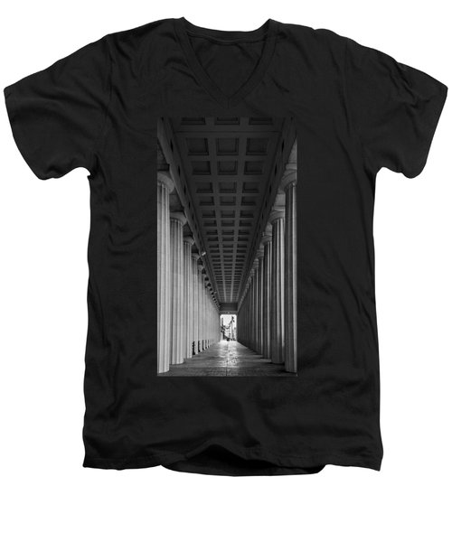 Soldier Field Colonnade Chicago B W B W Men's V-Neck T-Shirt by Steve Gadomski