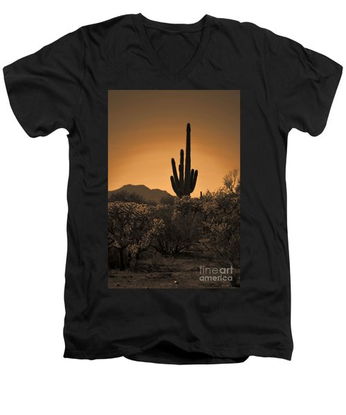 Solitary Saguaro Men's V-Neck T-Shirt