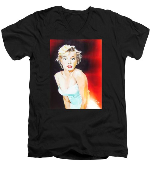 Men's V-Neck T-Shirt featuring the painting Some Like It Red Hot by Judy Kay
