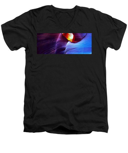 Men's V-Neck T-Shirt featuring the photograph Somewhere In America Series - Blue In Antelope Canyon by Lilia D
