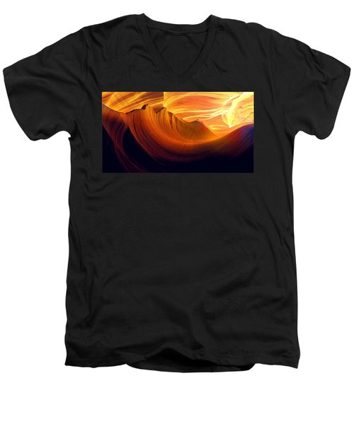Men's V-Neck T-Shirt featuring the photograph Somewhere In America Series - Golden Yellow Light In Antelope Canyon by Lilia D