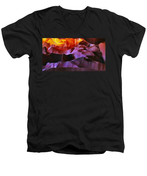 Men's V-Neck T-Shirt featuring the photograph Somewhere In America Series - Transition Of The Colors In Antelope Canyon by Lilia D