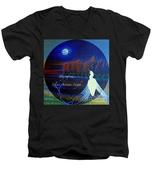 Song Of The Silent  Autumn Night In The Round With Text  Men's V-Neck T-Shirt