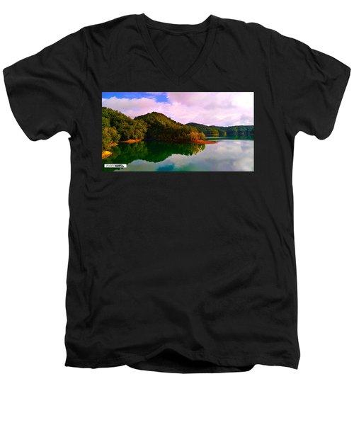 North Holston Lake Mountains Men's V-Neck T-Shirt