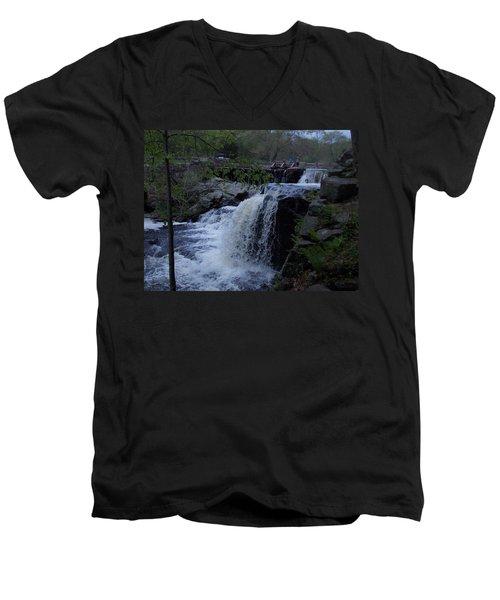 Southford Falls Men's V-Neck T-Shirt by Catherine Gagne