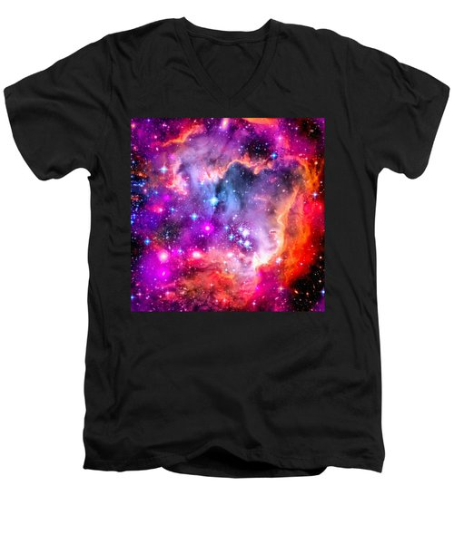 Space Image Small Magellanic Cloud Smc Galaxy Men's V-Neck T-Shirt by Matthias Hauser