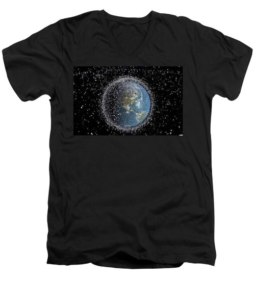 Men's V-Neck T-Shirt featuring the photograph Space Junk by Science Source