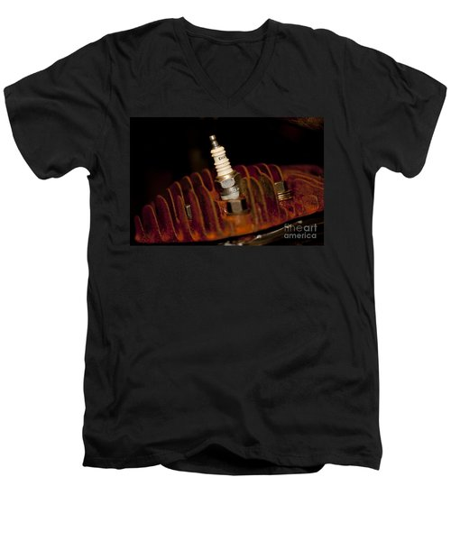 Men's V-Neck T-Shirt featuring the photograph Sparkplug And Rusty Cooling Fins by Wilma  Birdwell