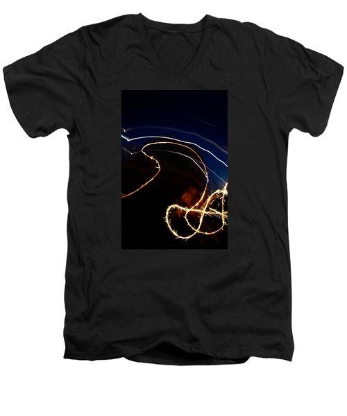 Sparkler Men's V-Neck T-Shirt by Joel Loftus