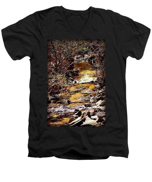 Men's V-Neck T-Shirt featuring the photograph Sparkling Creek by Tara Potts