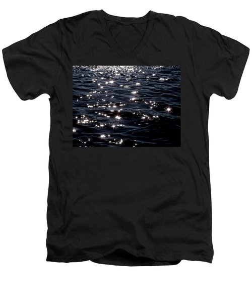 Sparkling Waters At Midnight Men's V-Neck T-Shirt