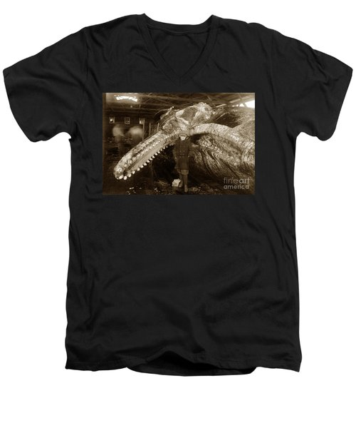 Sperm Whale Taken At Moss Landing California  On January 22 1919 Men's V-Neck T-Shirt