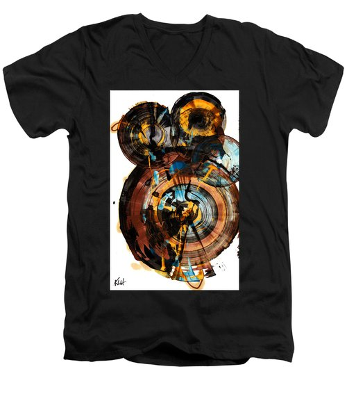 Men's V-Neck T-Shirt featuring the painting Spherical Happiness Series - 994.042212 by Kris Haas