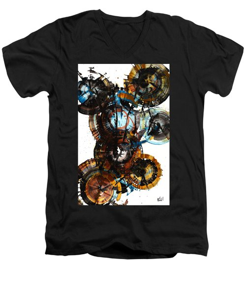 Men's V-Neck T-Shirt featuring the painting Spherical Joy Series - 995.042212 by Kris Haas