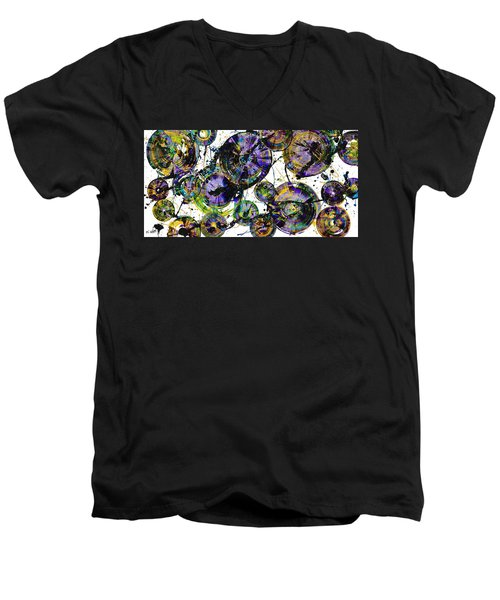 Men's V-Neck T-Shirt featuring the painting Spherical Purple Haze - 1510.021413 by Kris Haas