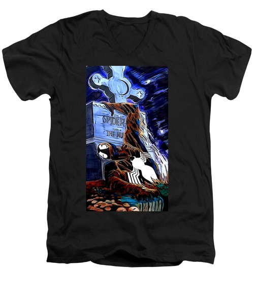 Men's V-Neck T-Shirt featuring the drawing Spider Resurrection Painting by Justin Moore