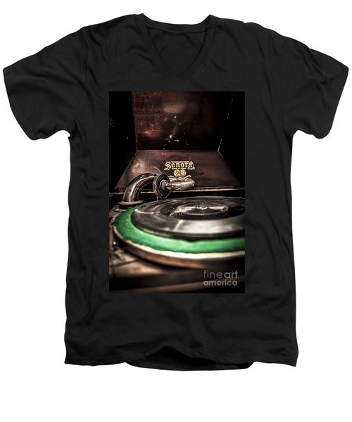Spin That Record Men's V-Neck T-Shirt by Darcy Michaelchuk