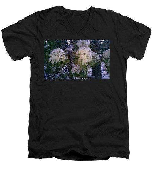 Men's V-Neck T-Shirt featuring the photograph Spiny Snow Balls by Chris Tarpening
