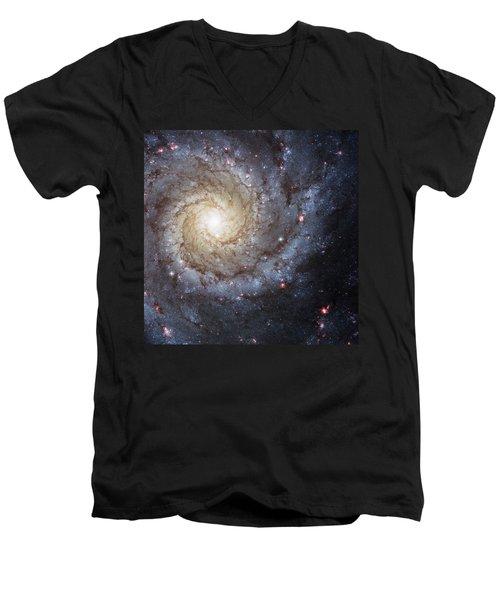 Spiral Galaxy M74 Men's V-Neck T-Shirt