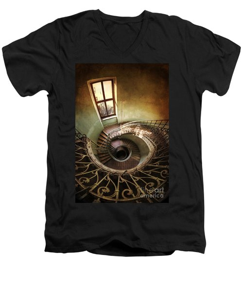 Spiral Staircaise With A Window Men's V-Neck T-Shirt