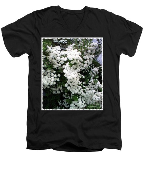 Men's V-Neck T-Shirt featuring the photograph Spirea Bridal Veil by Barbara Griffin