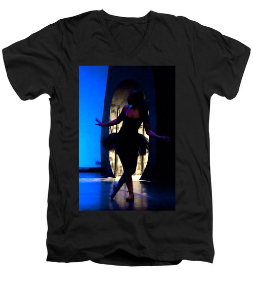 Spirit Of Dance 3 - A Backlighting Of A Ballet Dancer Men's V-Neck T-Shirt