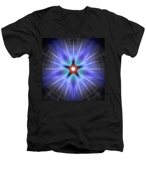Men's V-Neck T-Shirt featuring the drawing Spiritual Pulsar by Derek Gedney