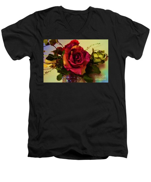 Splendid Painted Rose Men's V-Neck T-Shirt