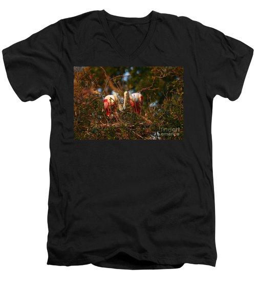 Men's V-Neck T-Shirt featuring the photograph Spoonbill Love Nest by John F Tsumas