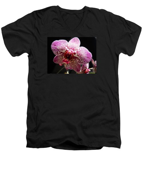 Men's V-Neck T-Shirt featuring the photograph Spotted Purple Orchid by Ramona Matei