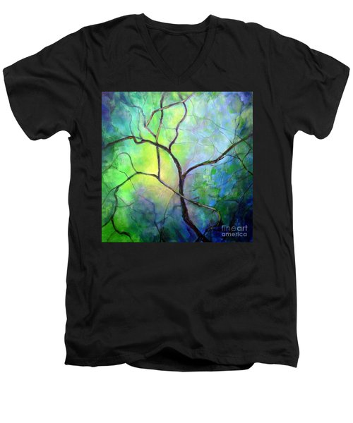 Men's V-Neck T-Shirt featuring the painting Spring Catawba Tree by Jodie Marie Anne Richardson Traugott          aka jm-ART