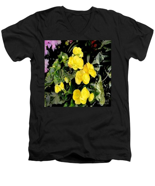 Men's V-Neck T-Shirt featuring the photograph Spring Delight In Yellow by Luther Fine Art
