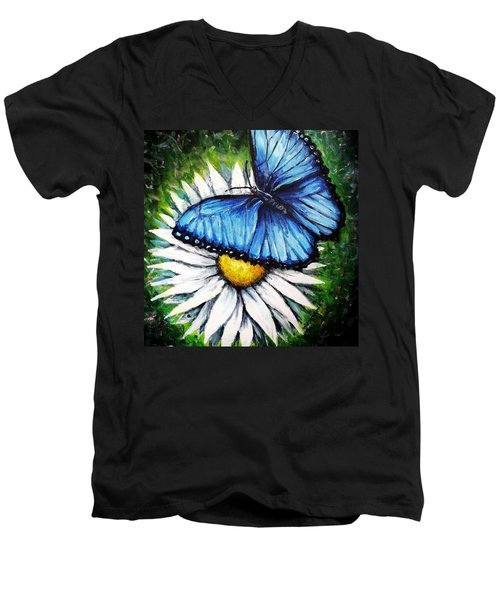 Men's V-Neck T-Shirt featuring the painting Spring Has Sprung by Shana Rowe Jackson