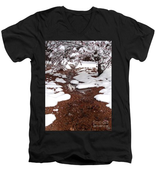 Men's V-Neck T-Shirt featuring the photograph Spring Into Winter by Kerri Mortenson