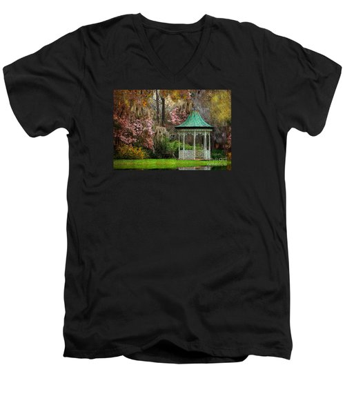 Men's V-Neck T-Shirt featuring the photograph Spring Magnolia Garden At Magnolia Plantation by Kathy Baccari