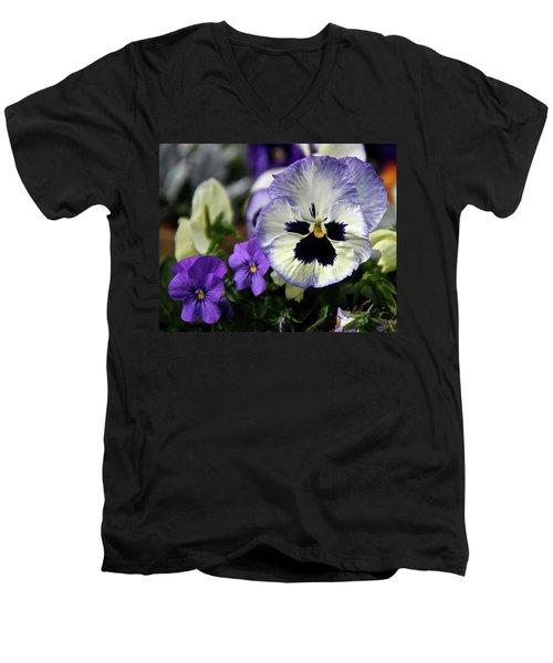 Spring Pansy Flower Men's V-Neck T-Shirt by Ed  Riche