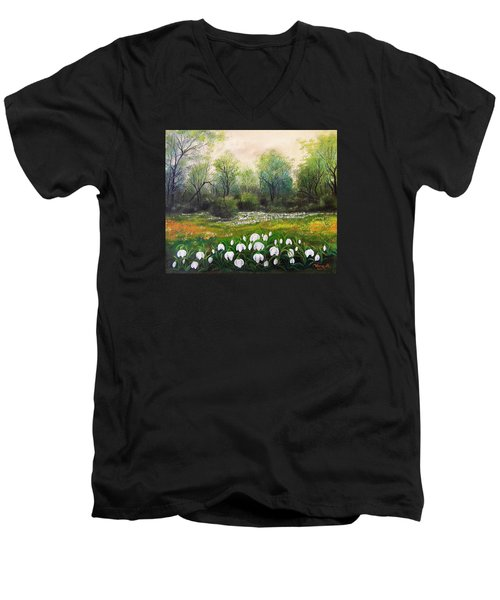 Men's V-Neck T-Shirt featuring the painting Spring by Vesna Martinjak
