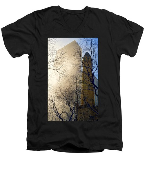 Men's V-Neck T-Shirt featuring the photograph Springtime In Chicago by Steven Sparks