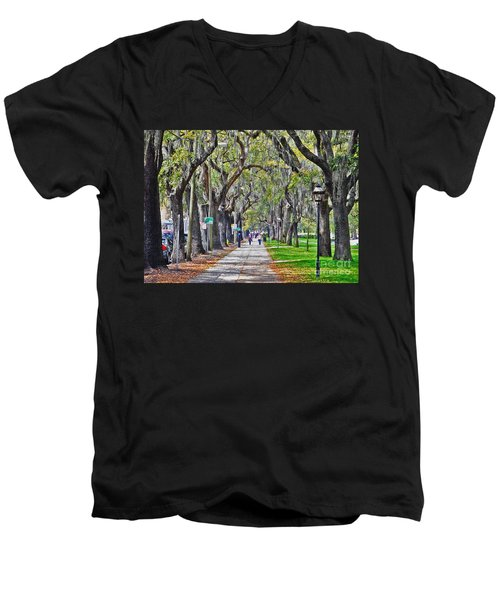 Springtime In Savannah Men's V-Neck T-Shirt by Lydia Holly