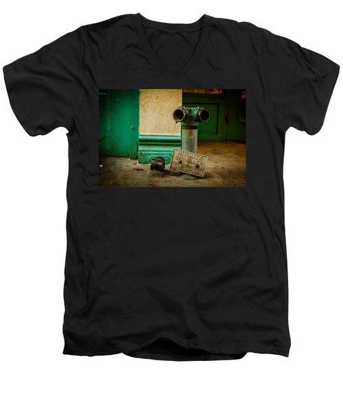 Sprinkler Green Men's V-Neck T-Shirt by Melinda Ledsome