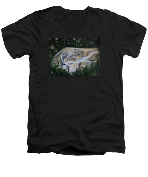 Men's V-Neck T-Shirt featuring the painting Ssssmantha by Dianna Lewis