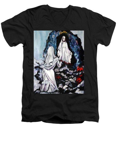 St. Bernadette At The Grotto Men's V-Neck T-Shirt