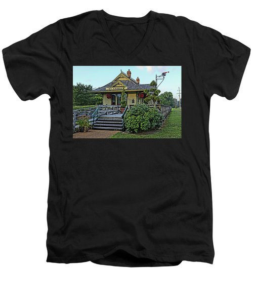 St Charles Station On The Katty Trail Look West Dsc00849 Men's V-Neck T-Shirt by Greg Kluempers