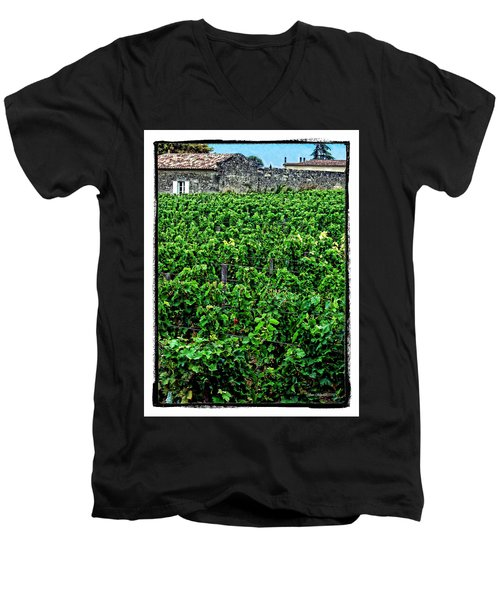 Men's V-Neck T-Shirt featuring the photograph St. Emilion Winery by Joan  Minchak