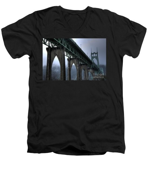 St Johns Bridge Oregon Men's V-Neck T-Shirt